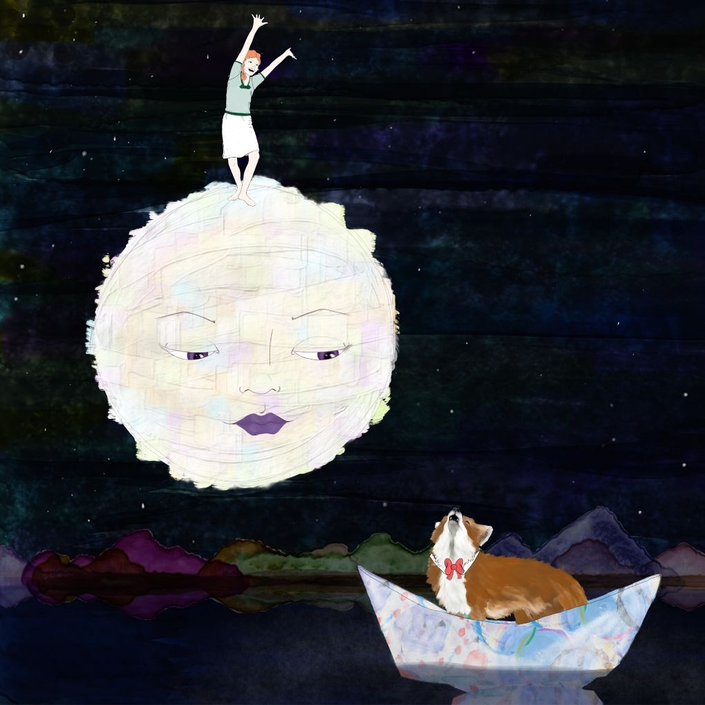 illustration of a girl on a moon and a fox in a boat
