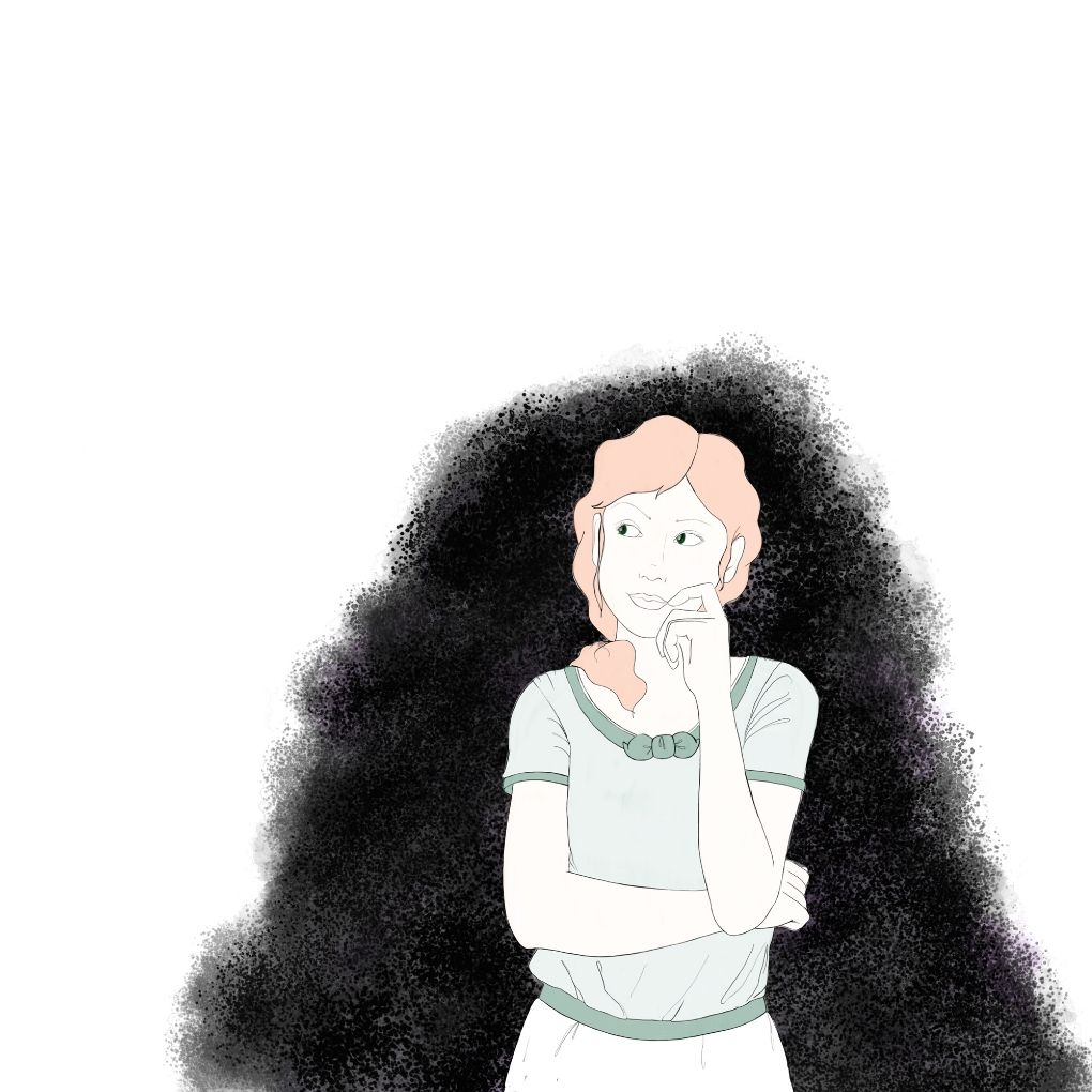illustration of a girl thinking