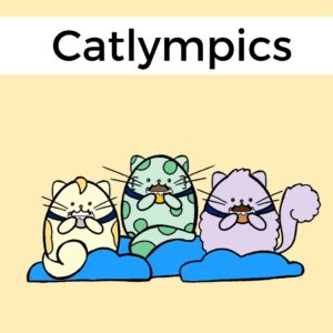 illustration of three cats eating chocolate coins
