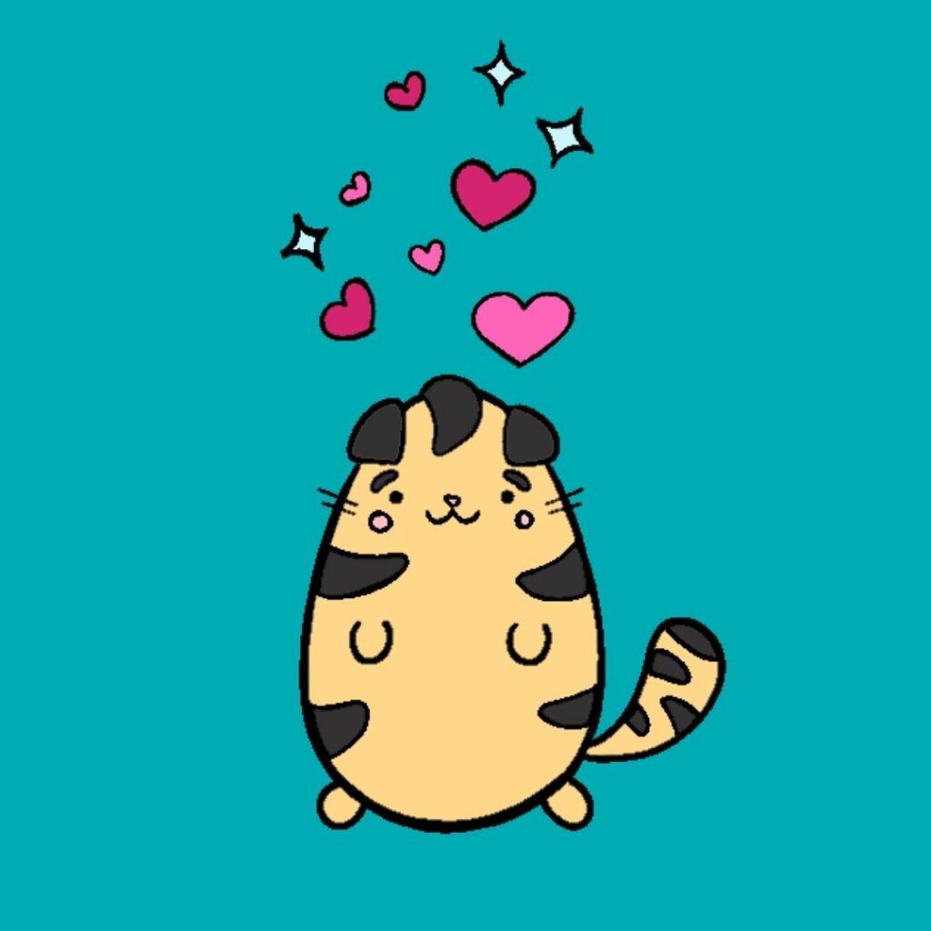 a cat with stars and hearts over its head