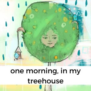 illustration of a girl in a tree